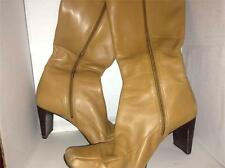 "Ann Klein Camel Colored Knee Length 3"" Heel Zip Up Boots Size 7.5M"