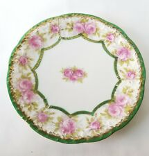 "Imperial Crown Austria China Dessert Plate 7.75"" Pink Roses Gilt Edge Vintage"