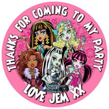 24 MONSTER HIGH PERSONALISED GLOSS BIRTHDAY PARTY BAG BOX SWEET CONE STICKERS