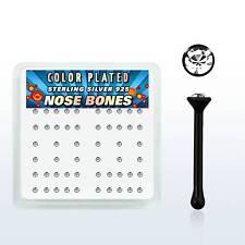 Pendiente De Nariz Plata 925 Negro CIRCONITA cristal claro 2mm piercing
