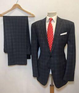 RICHARD JAMES Savile Row Luxury Blue Slate Check Wool Suit 44 R x 38