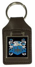 Prittie Family Crest Surname Coat Of Arms Brown Leather Keyring Engraved