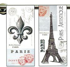 Dish Towels - Set of 2:Paris Artistique, 1 w/Eiffel Tower and 1 w/Fleur de Lis