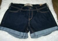 HOLLISTER Midi Short Longest Length Jean Shorts Womens 24 Dark Wash Cuffed NEW