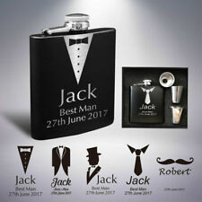 Personalised Engraved Hip Flask 6oz Groom Best Man Usher Wedding Father Day Gift Style 4