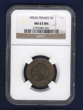 FRANCE NAPOLEON III 1853-A  5 CENTIMES COIN UNCIRCULATED, NGC CERTIFIED MS-63-BN