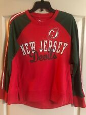 New Jersey Devils Women's Vintage Retro Red Green NHL Sweatshirt Medium M