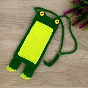 Crochet Phone Case Frog Handmade Baby Phone Pouch Bag Stocking Stuffers Kids
