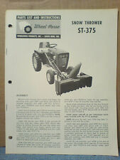 Wheel Horse St-375 Snow Thrower Operators, Assembly, And Parts List *Original!*