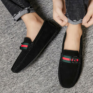 MENS MOCCASIN LOAFERS FAUX SUEDE COMFORT DRIVING SHOES SLIPPERS SIZE [UK 9 BLACK