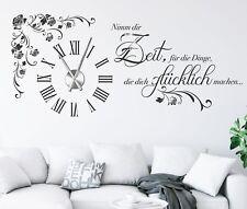Wanduhr Wandtattoo Uhr mit Uhrwerk Wandtatoo Wohnzimmer mit Kristallen pkm475