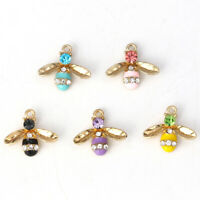 10Pcs Enamel Honey Bees Shape Rhinestone Crystal Pendants Jewelry Making Decor