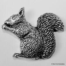 Red Grey Squirrel Sitting Pewter Pin Brooch - British Artisan Signed Badge