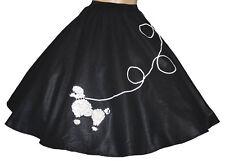 """4-Pcs BLACK 50s Poodle Skirt Outfit Size 1X/3X - Waist 40""""-50"""" - Length 25"""""""