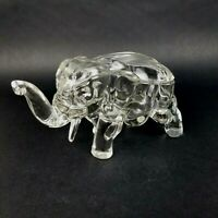Vintage Glass Elephant Covered Dish Clear Glass Candy Trinket Dish