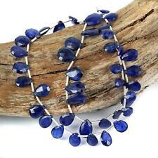 beautiful clean translucen Natural Blue Sapphire Briolette Drop Gemstone Beads