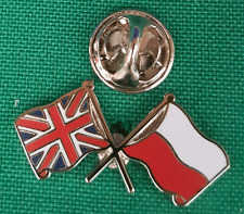 Union Jack and Poland Flag Friendship Lapel Pin badge in Pouch Gift Idea