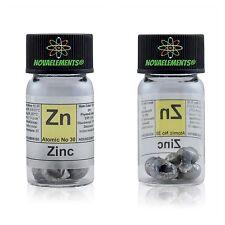 5 Gramm 99,9% Zink Metall element 30 in beschriftetem Glasfläschchen mit Etikett