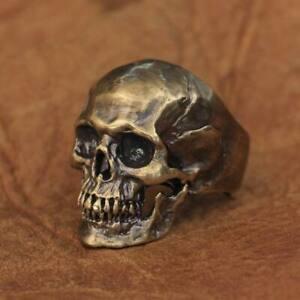LINSION Good Details Brass Gothic Skull Ring Mens Biker Punk Ring BR50A