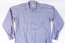 Pronto Uomo Mens Button Front Long Sleeve Dress Shirt Blue Stripes Sz 17 34/35