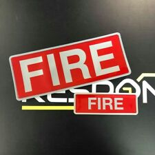 Encapsulated reflective 250mm badge set FIRE front & back slide in style