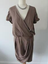 TIBI NEW YORK Dark Stone Ruched Wrap Dress Leather Trim Size 12 US8 BNWT RRP£395