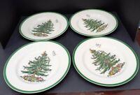"4 VINTAGE SPODE ""CHRISTMAS TREE""  10 3/4"" DINNER PLATES #1"