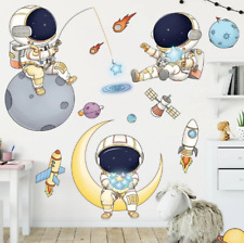 Cartoon Space Astronaut Wall Stickers Baby Home Decoration Wall Decals Removable