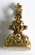 A GEORGIAN GOLD CASED WATCH FOB WITH A WHITE CHALCEDONY STONE WITH INITIALS 'HH'