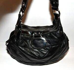 Guess Black  V- Shape Patches Faux Leather Faux Patent Leather Strap Hobo Bag