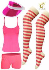 WOMEN PINK GOLF VISOR VEST HOT PANT STRETCHY GYM 70's 80's HEN NIGHT FANCY DRESS