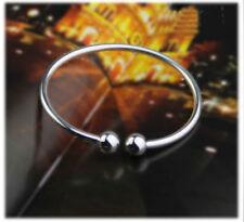 925 Sterling Silver Charm Love Cuff Bangle Womens Fashion Bracelet + Box #BL29
