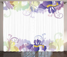 Garden Curtains Classic Petals Pastel Window Drapes 2 Panel Set 108x84 Inches