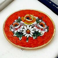 Beautiful Vintage 1950s Italian Red & Flower Micro Mosaic Brooch Pin Gift Boxed