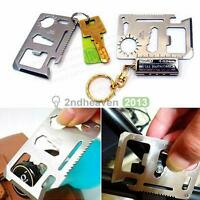11in1 Multi Function Stainless Steel Survival Camping Tool Emergency Card Pocket