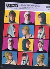 c1960s Knitting Pattern: Patons: 9590: 4 Hoods