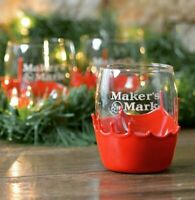 *NEW - Set of 2* Maker's Mark Bourbon Rock Glasses Red Dipped ~ AUTHENTIC