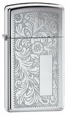 Zippo 1652,Venetian,Slim Size, Design Front & Back, High Polish Chrome Lighter