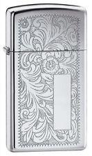 Zippo 1652,Venetian,Slim Size, Design Front & Back, High Polish Chrome Lighter