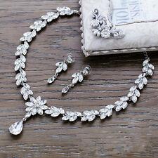 Crystal Rhinestone Diamond Necklace Pendent Earrings Wedding Prom Jewelry Set UK
