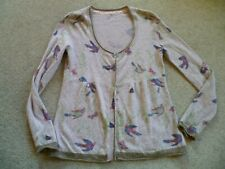 White Stuff Bird Butterfly Print Cardigan Size 12 Cotton Lambswool Blend