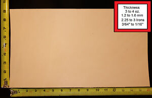 """16"""" x 9"""" Vegetable Tanned Cowhide 3 to 4 oz. Tooling Leather Piece, 1st. Qlty"""