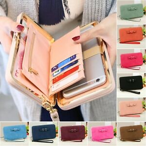 Womens Clutch Bag Ladies Leather Wallet Purse Handbag Phone Card Coin Zip Holder