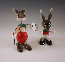 VINTAGE GOULA SPAIN LOT OF 2 RABBITS, BUNNIES BOBBLE HEADS, FIGURINES-EASTER