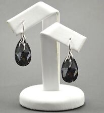 925 Silver Earrings made with Swarovski Crystals 22mm PEAR -Silver Night