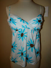 MNG SUIT WHITE TEAL BLUE BROWN FLOWER FLORAL LOW CUT TUNIC BLOUSE TOP SHIRT S