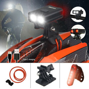 Rechargeable USB LED Bike Bicycle Helmet Head and Tail Cycling Front Headlight