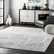 nuLoom Traditional Vintage Distressed Abstract Area Rug in Grey Ivory All Sizes