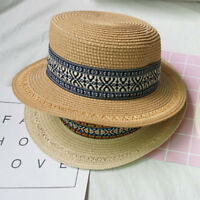 Men Womens Summer Retro Tribe Beach Vacation Straw Sun Hat Derby Sunshade Boater