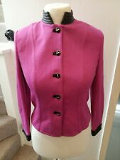 St John by Marie Gray Pink Wild Orchid leather look trim cardigan US2 UK/8 NWT